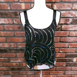 Free People Sequined Sheer Tank Ribbon Crossback